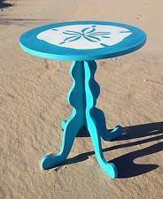 Coastal Decorative Painted Accents | Hand Painted End Accent Table Seashell  Beach Decor Nautical Coastal