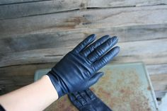 Vintage Navy Blue Leather Lightly Lined Driving Gloves by vintapod