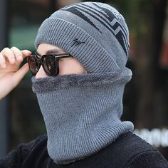 65c3ad24124 Mens Winter Warm Knit Woolen Face Mask Hat Beanie Cap - Banggood Mobile Winter  Hats For