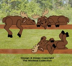 Moose Rail Pets Pattern Add a whimsical touch to fences or handrails with these adorable snoozing moose characters. #diy #woodcraftpatterns