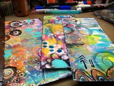 Diane's Mixed Media Art - decorating envelopes for mail art. ♥ the colors, :)