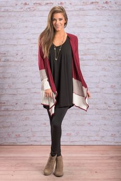 """The Way It Is Cardigan, Burgundy"" This cardigan is sure to be a hit! The colors are perfection for one! But also, we know how much you love stripes and color blocking! #newarrivals #shopthemint"