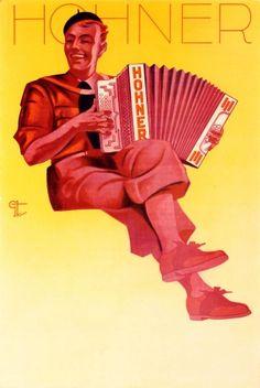 Hohner Accordion, 1930s - original vintage poster listed on AntikBar.co.uk