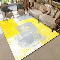 Yellow Gray Block Carpet Living Room Bathroom Kitchen Bedroom - MULTI-A - Cheapest and Latest women Yellow Carpet, Grey Carpet, Carpet Colors, Bedroom Carpet, Living Room Carpet, Living Room Decor, Living Rooms, Cost Of Carpet, Cheap Carpet
