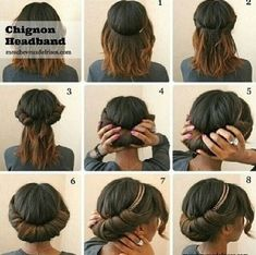 NATURAL Chignon headband hair style and other great hair tricks.