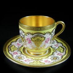 Antique Coalport Cabinet Miniature Cup Saucer Gold Yellow Pink Demitasse