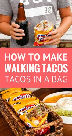 Walking Tacos Recipe -- These little tacos in a bag are equally perfect for game day get togethers or busy school nights, even camping… So simple and easy to make! | taco in a bag | how to make walking tacos | frito chili pie | walking taco bar | walking tacos camping | find the recipe on unsophisticook.com #tacos #tacotuesday #walkingtacos #easyrecipes #unsophisticook