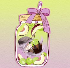 Black Butler Funtomscandy Cafe chibi/little Undertaker in a violet bottle with green grapes,plums and violet bow.