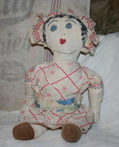 Vintage Handmade Feed Sack Doll  by dancingbumblebeecott, 25.00