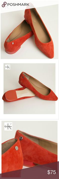 Calvin Klein Suede Women's Shoes Infuse your everyday looks with a little color. Made of suede leather, Red/Orange color. Heels Height 1/2 inch. Calvin Klein Shoes Flats & Loafers