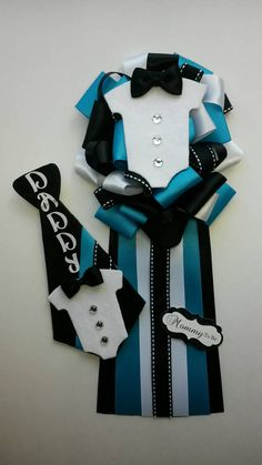 Set Mommy to be corsage Daddy to be bow pin by fourDOLLYSboutique