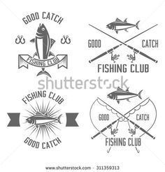 Fishing club set of vector vintage black labels, badges, emblems isolated on white background, fishing rod, tuna, fishing hook, fishing sport logos - stock vector