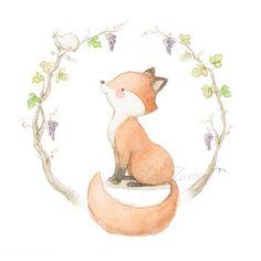 Ilustración zorro con orla de uvas