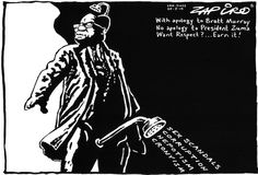 Zapiro's take on the Brett Murray's 'The Spear' - the painting of Jacob Zuma with his genitals exposed which greatly upset the ANC and divided public opinion. | www.zapiro.com