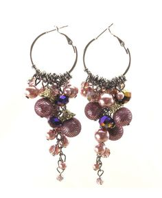 Oversized Drop Earrings with Crystal Details