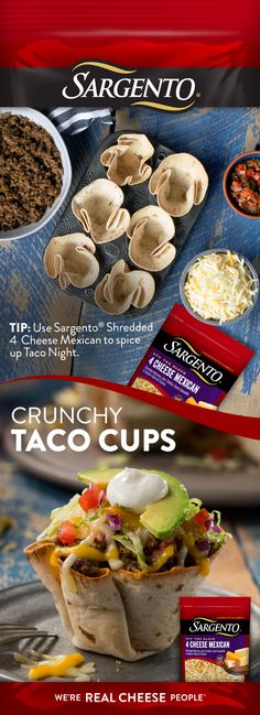 These Taco Cups are perfect for a quick, weeknight dinner or a tasty appetizer for your next party. Each cup is packed with all your favorite taco flavors and is topped with Sargento® fresh Off-The-Block Shredded Cheese that make them even more delish.