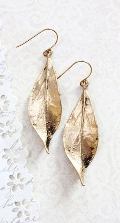 http://rubies.work/0678-sapphire-ring/ Long Gold Leaf Earrings Woodland Jewellery by apocketofposies