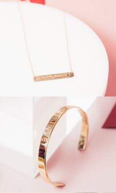 Propose to your bridesmaids with the Coordinates of your wedding on this custom made Legend necklace.