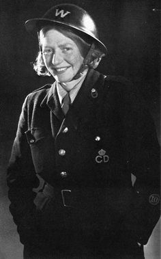Barbara Nixon pictured in 1943 after she had been promoted within the Civil Defence organisation. She was one of the first women to be employed as a full time Warden. She eventually became an Instructor before returning to theatre and television in1945.