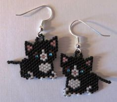 Black and white kitty earrings by AngelInc on Etsy, $9.50