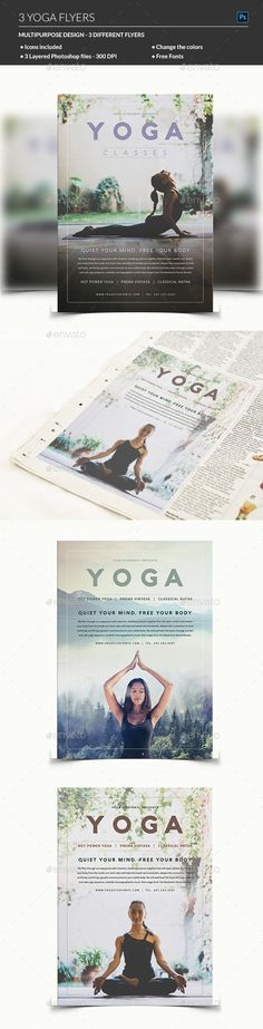 179 best Yoga Flyer images on Pinterest   Graphics  Branding design     Yoga Flyer by madridnyc We do a number of activities to keep ourselves fit  and healthy