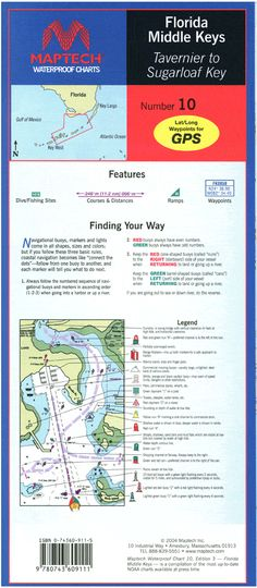 Summerland Key to Dry Tortugas. Featuring GPS Waypoints, pre-plotted courses and distances, fish/dive sites, and ramp locations and information. x scale with insets. Florida East Coast, West Florida, Florida Keys, Fl Keys, Florida Usa, Florida Beaches, Travel Map Pins, Travel Maps, Mariana