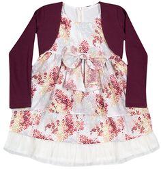 Para as Princesas uma coleção inspirada na mais charmosa das rainhas. Muito charme e elegância!  Vestido em crepe e tule com bolero  Disponível em http://purezababy.com.br/vestido-tule-infanti.html