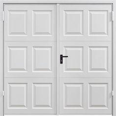Georgian side hinged garage door, with deep and crisp panel pressed. Side Hinged Garage Doors, Garage Door Hinges, Block Paving Driveway, Door Stays, Garage Door Installation, Door Fittings, Traditional Doors, Brickwork, Panel Doors