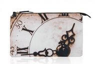 "Clutch supradimensionat din piele naturala imprimata ""The Clock"""