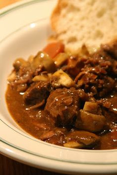 EASY Crockpot Beef & Wine Stew ... This recipe creates a lot of unbelievably delicious sauce; nearly edible with a spoon. #comfort food #recipe
