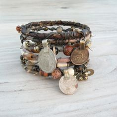 Silk Road Gypsy Bangle Stack  Earth Tones 7 by GypsyIntent on Etsy, $80.00