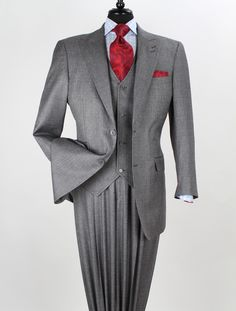 Good tailoring. Love the double buttonholes on the lapel. Gray, Blue and Red have never failed to find cohesion.