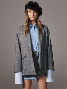 Zara oversized checked blazer, check miniskirt and combined multi-striped shirt