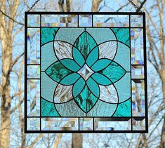Beveled glass panel in teal and sea green by livingglassart home of oddballs and oddities, via Flickr