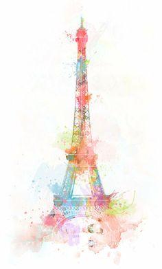 Eiffel Tower in Pretty Pastels