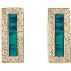 Jennifer Meyer Diamond, Opal & Gold Small Bar Studs $1,850.00
