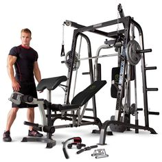 Marcy Home Gym Smith Machine Black - Removable Weight Bench 272kg Weight Load