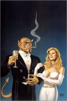 The Devil & Dan Cooley / 1996 (Clyde Caldwell) Dungeons And Dragons Art, Pulp Fiction Art, Fantasy Characters, Fantasy Artwork, Sci Fi Art, Manga Characters, Fantasy Creatures, Art, Dark Fantasy Art