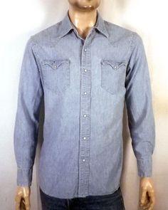 vtg 90s euc Polo Ralph Lauren Chambray Denim Western Shirt Work pearl snap  M Western Shirts cc85d05a733
