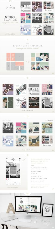 #Storyboard Pack for Engagement / Save The Date : This collection is exclusively designed for those wishing for a quick and easy way to celebrate their engagement on social networks. Specially crafted #designs to show off your engagement photo shoot with complementary text, allow you to get the news out with style!! ( #wedding #photographer #socialmedia #moodboard #instagram #bloggers #scrapbook #collage #marketing )