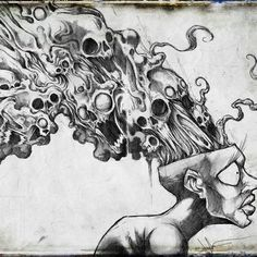 Big throwback to I think I was at house when I finished this piece and my facial anatomy was questionable. This was my best selfie description of the stuff running through my head. Creepy Sketches, Art Sketches, Arte Horror, Horror Art, Bullet Art, Dark Art Drawings, Creepy Art, Dope Art, Drawing Techniques