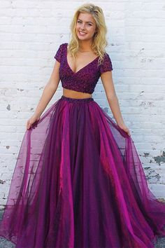 Two Piece A Line Floor Length Deep V Neck Short Sleeve Beading Long Prom Dress,Party Dress P238 #LongPromDresses, #CheapPromDress, #PartyDresses, #PromGowns, #GownsProm, #EveningDresses, #CheapPromDresses, #DressesforGirls, #PromDressUK, #PromSuit, #PromDressBrand, #PromDressStore, # Party Dress #GraduationDress