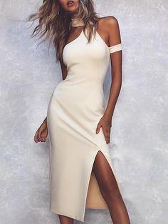 d96829d9471 Halter Cold Shoulder Slit Bodycon Dress