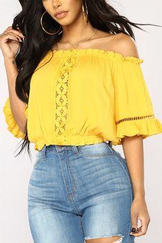 6dc9ded008b29 Brinne Off Shoulder Top - Mustard · Fashion Nova ...