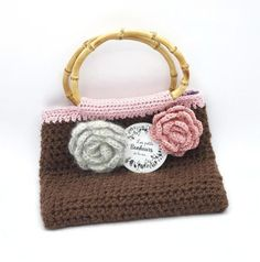 Sac en crochet laine marron doublé tissu fleuri avec fleurs en | Etsy