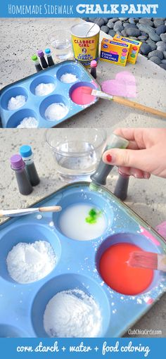 homemade sidewalk chalk paint craft for kids Fun Crafts For Kids, Summer Crafts, Crafts To Do, Projects For Kids, Diy For Kids, Summer Fun, Diy Crafts, Chalk Crafts, Craft Kids