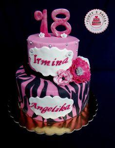 Torty z Pasją: Osiemnastka tort, pink, 18, cake zebra.