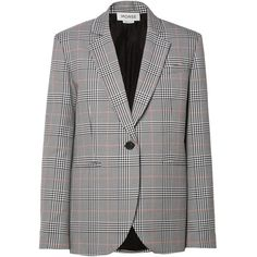 Monse Oversized embellished Prince of Wales checked woven blazer found on Polyvore featuring outerwear, jackets, blazers, blazer, coats, grey, embellished jackets, grey blazers, grey blazer jacket and gray jacket