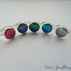 Mermaid Scale Ring  Silver plated  12mm  by TonisJewelleryOnEtsy