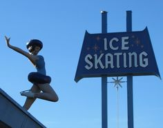 Culver City Ice Rink - love the mid-century design of this sign and figure.
